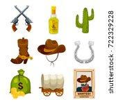 cartoon icon set for wild west... | Shutterstock .eps vector #722329228