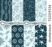 different seamless patterns set ... | Shutterstock .eps vector #722329234