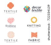 Set of Vector logo design for shop knitting, textile