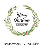 watercolor illustration. xmass... | Shutterstock . vector #722334844