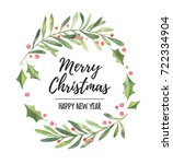 watercolor illustration. xmas... | Shutterstock . vector #722334904