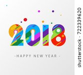 happy new year 2018 design card.... | Shutterstock .eps vector #722339620