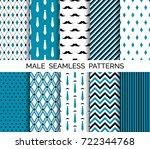 set of vector seamless male... | Shutterstock .eps vector #722344768
