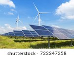 solar panels and wind turbines... | Shutterstock . vector #722347258
