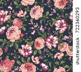 Stock photo seamless vintage flower pattern on navy background 722360293
