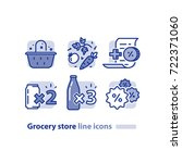 grocery store line icons ... | Shutterstock .eps vector #722371060