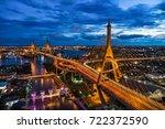 aerial of bangkok city downtown ... | Shutterstock . vector #722372590