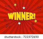 winner comic word on red... | Shutterstock .eps vector #722372650