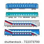 flat  retro and classic railway ... | Shutterstock . vector #722373700
