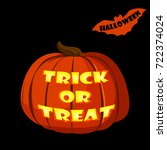 halloween pumpkin isolated on...   Shutterstock .eps vector #722374024