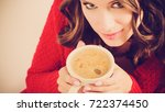 attractive fall girl red...   Shutterstock . vector #722374450