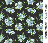seamless floral pattern with... | Shutterstock . vector #722375980
