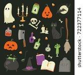 halloween carnival symbols... | Shutterstock .eps vector #722377114