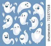 cartoon spooky ghost halloween... | Shutterstock .eps vector #722377318