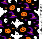 happy halloween seamless... | Shutterstock . vector #722380390