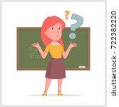 girl teacher pondered against...   Shutterstock .eps vector #722382220