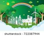 eco green city.save the world... | Shutterstock .eps vector #722387944