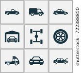 automobile icons set.... | Shutterstock .eps vector #722388850