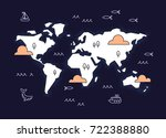 graphic world map with cartoon... | Shutterstock .eps vector #722388880