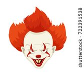 evil clown with red hairs....   Shutterstock .eps vector #722391538