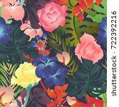 seamless pattern  rose ... | Shutterstock .eps vector #722392216