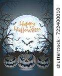 jack o lantern glowing at... | Shutterstock .eps vector #722400010