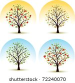 apple tree seasons   spring ... | Shutterstock .eps vector #72240070