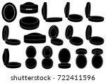 set of different ring boxes... | Shutterstock .eps vector #722411596