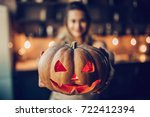happy halloween  attractive... | Shutterstock . vector #722412394