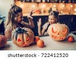 happy halloween  attractive... | Shutterstock . vector #722412520