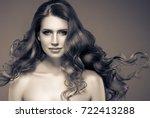 woman monochrome portrait with... | Shutterstock . vector #722413288