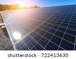 solar panel on sky sunset...   Shutterstock . vector #722413630