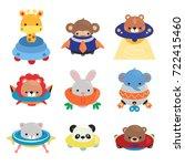 Stock vector set of cartoon animals astronaut giraffe monkey tiger lion rabbit elephant cat panda and 722415460