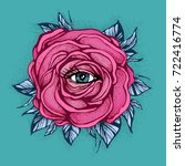 pink tattoo rose flower with... | Shutterstock .eps vector #722416774