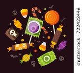 bunch of halloween sweets and... | Shutterstock .eps vector #722423446