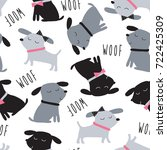 Stock vector seamless cute dogs animal pattern vector illustration 722425309