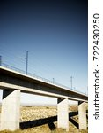 Small photo of view of a high-speed viaduct in Roden, Zaragoza, Aragon, Spain. AVE Madrid Barcelona.