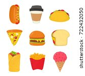fast food set. french fries ... | Shutterstock .eps vector #722432050
