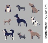 set of dogs  icons  funny... | Shutterstock .eps vector #722434474