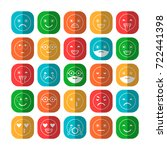 colored flat icons of emoticons.... | Shutterstock .eps vector #722441398