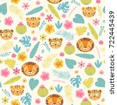 Stock vector baby seamless pattern with jungle animals and flowers cute background in vector 722445439
