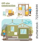 modular off site construction... | Shutterstock .eps vector #722446444