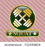 gold badge with dumbbell icon... | Shutterstock .eps vector #722450824
