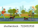 Stock vector people walking with dogs in urban park vector landscape in cartoon style urban park with dog and 722451910