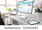 3d rendering devices on modern... | Shutterstock . vector #722451934