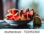 fresh guava sliced on glass... | Shutterstock . vector #722452363