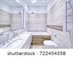 modern interior of the bathroom ... | Shutterstock . vector #722454358