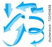 blue arrows. set of web 3d... | Shutterstock .eps vector #722454838