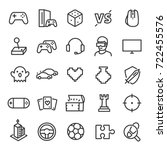 Video games icon set. Game genres and attributes. Linear design. Lines with editable stroke. Isolated vector icons