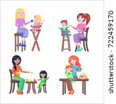 set of four mothers  who feeds... | Shutterstock . vector #722459170
